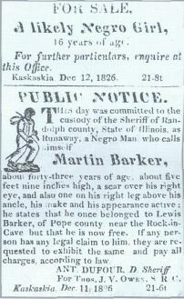 Public Notice for the sale of a slave