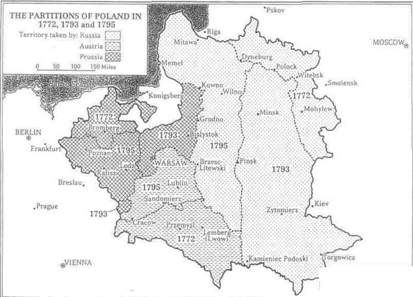 The Partitions of Poland in 1772, 1793 and 1795. Source: John Dayle Klier,